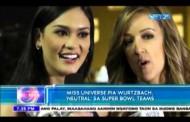 Miss Universe Pia Wurtzbach, 'neutral' sa Super bowl teams