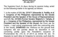 SC ibinasura ang mga petisyon para atasan nito ang Kongreso na mag-joint session para talakayin ang Martial Law sa Mindanao