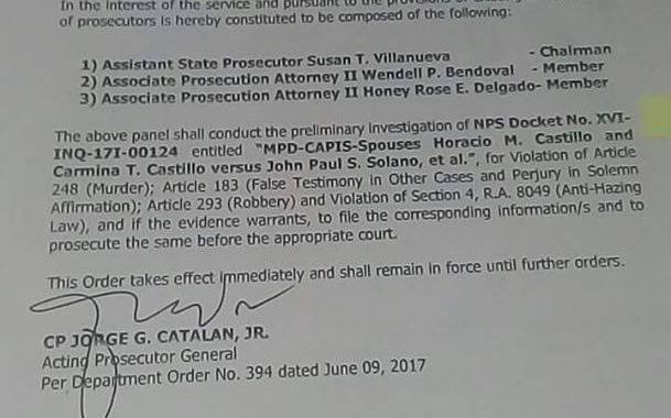 DOJ bumuo na ng panel na hahawak sa kaso ng pagpaslang sa UST law student na si Horacio Castillo III