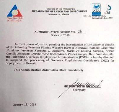 Pagiisyu ng OEC at Deployment para sa mga Pinoy workers patungong Kuwait, sinuspinde ng DOLE