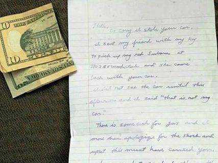 Ninakaw na cash na ibinalik sa may-ari may kasamang apology note