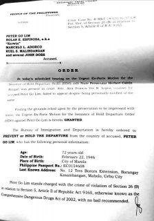 Makati City RTC nagpalabas ng Hold Departure Order laban kay Peter Go Lim