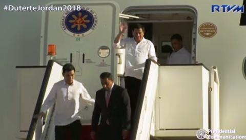 Pangulong Duterte dumating na sa Jordan para sa 3-day official visit
