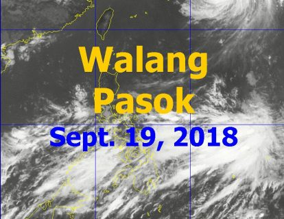 Ilang lugar na nagdeklara ng suspensyon ng klase ngayong araw, Sept. 19
