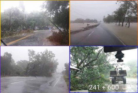DPWH sinimulan na ang clearing operations sa ilang lugar na naapektuhan ng bagyong Ompong; mga isinarang kalsada sa motorista dahil sa epekto ng bagyo, nadagdagan pa