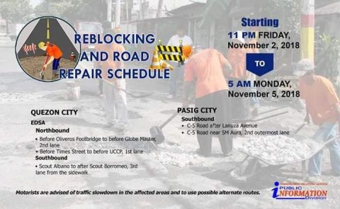 Road repair at reblocking isasagawa ng DPWH sa ilang bahagi ng EDSA at C5 Road ngayong long weekend