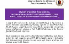 Pasok sa Korte Suprema at lahat ng hukuman sa buong bansa, kalahating araw lamang sa April 17