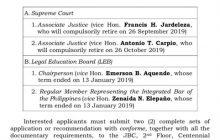JBC binuksan na ang aplikasyon para sa mga babakantehing pwesto sa Korte Suprema nina Justices Antonio Carpio at Francis Jardeleza
