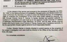 NBI, iimbestigahan na rin ang pagpatay kay dating Batangas Representative Edgar Mendoza