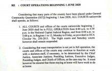 Mga Korte sa buong bansa, full operations na mula ngayong araw