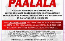 Justice Jose Abad Santos General Hospital sa Maynila hindi muna tatanggap ng non-COVID OB patients