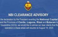 NBI clearance operations sa NCR at iba pang lugar na nasa ilalim ng GCQ, balik na muli simula ngayong August 19