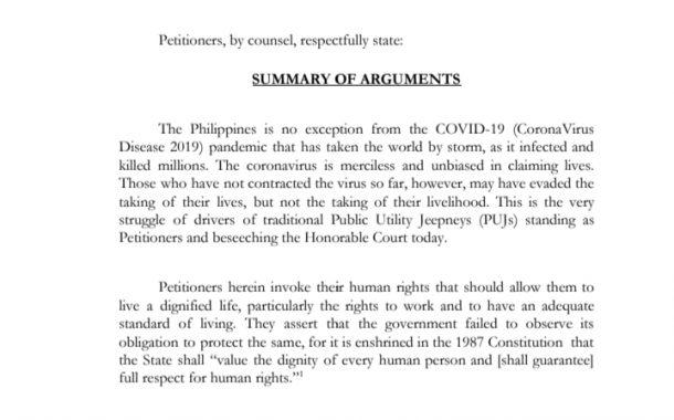 Grupo ng mga jeepney drivers kinuwestyon sa Korte Suprema ang pagbabawal sa karamihan sa kanila ng gobyerno na makabyahe ngayong pandemya