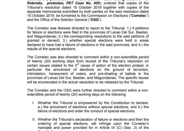 Presidential Electoral Tribunal inatasan ang Comelec at OSG na mag-komento sa election protest case ni dating Sen. Bongbong Marcos laban kay VP Leni Robredo