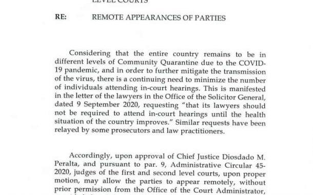 Remote o out of court appearance ng mga partido sa kaso pwede nang payagan ng hukom kahit walang permiso mula sa Office of the Court Administrator