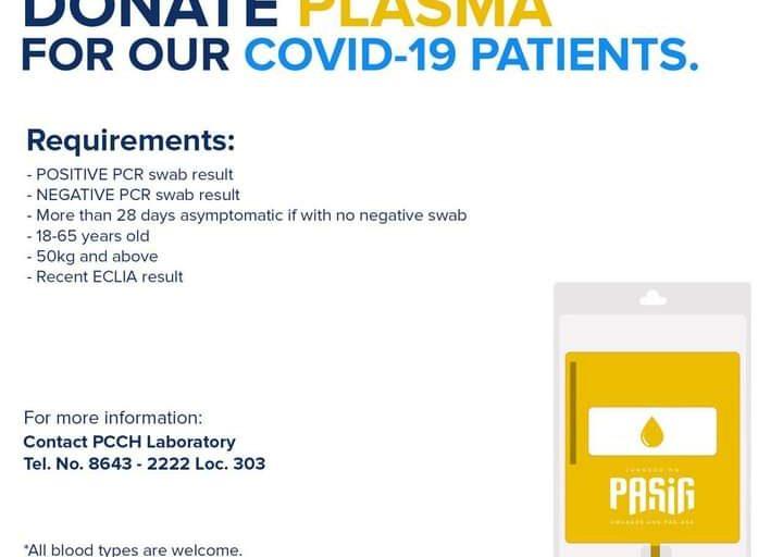 Pasig City Government nanawagan sa mga gumaling sa Covid-19 na mag-donate ng plasma