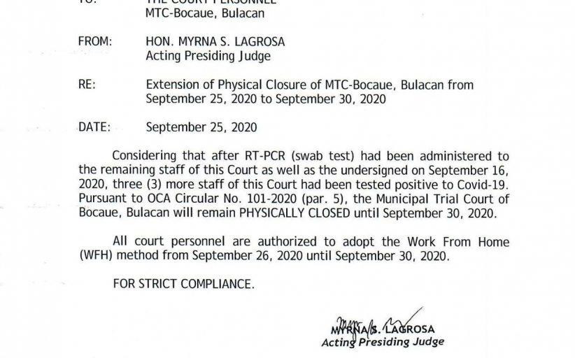 Lockdown sa Bocaue, Bulacan Municipal Trial Court pinalawig hanggang September 30 matapos magpositibo sa Covid-19 ang 3 pang kawani