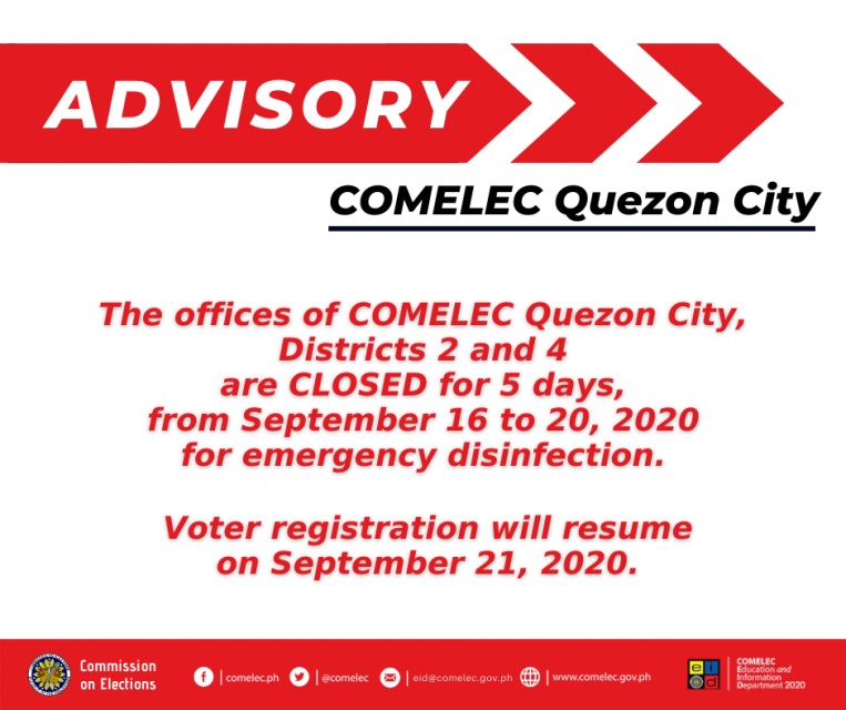 2 Comelec office sa Quezon City, pansamantalang isinara para sa disinfection