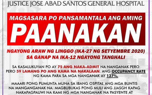 Paanakan ng Justice Jose Abad Santos General Hospital sa Maynila pansamantalang isinara