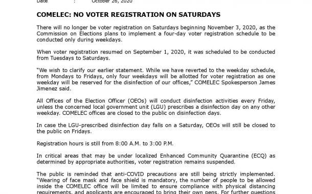Voter Registration apat na araw nalang - Comelec