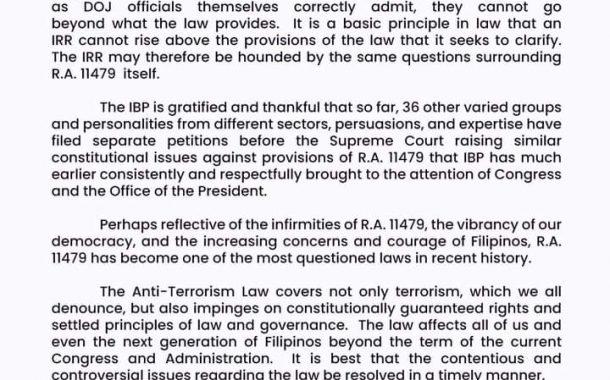 IBP: IRR ng Anti- Terrow law, pwede ring makwestyon
