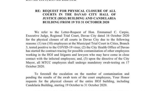 Mga korte sa Davao City Hall of Justice, pisikal na sarado hanggang sa October 31 matapos magpositibo sa Covid-19 ang 10 kawani
