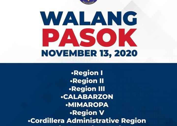 Walang pasok Nov. 13, 2020