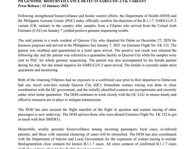 New variant ng COVID -19 nakapasok na sa Pilipinas - DOH