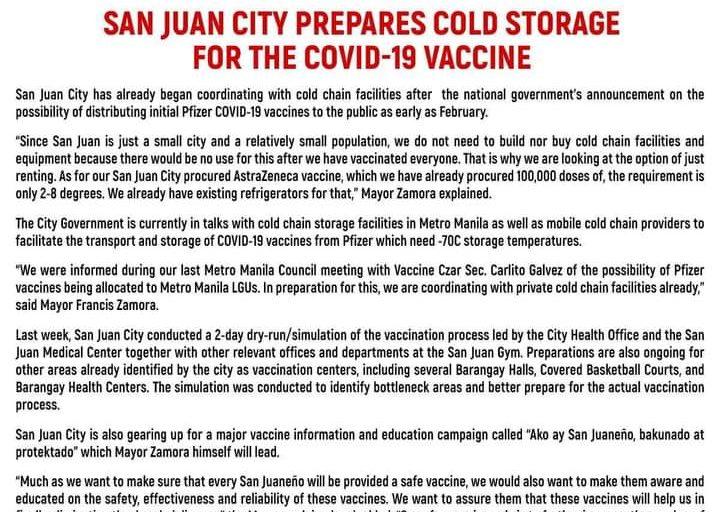 San Juan City, sinimulan na ang pakikipag-ugnayan para sa cold chain storage facilities ng COVID vaccines