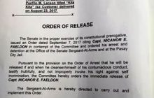 Release order para kay dating Customs Chief Nicanor Faeldon, nilagdaan na ni Senador Gordon