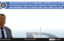 Pangulong Duterte nasa Hongkong na matapos dumalo sa Boao Forum