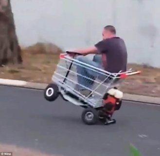 Homemade motorized shopping cart