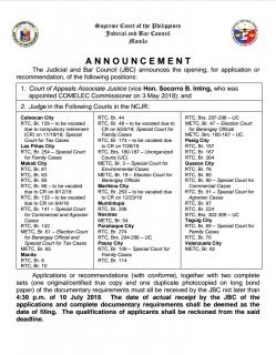 JBC, binuksan ang aplikasyon para sa mga bakanteng puwesto sa Court of Appeals at mga Korte sa NCR, Region 6 at Region 8