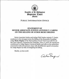 Acting Chief Justice Antonio Carpio, kinondena ang pagpaslang sa isang Judge sa Camarines Sur