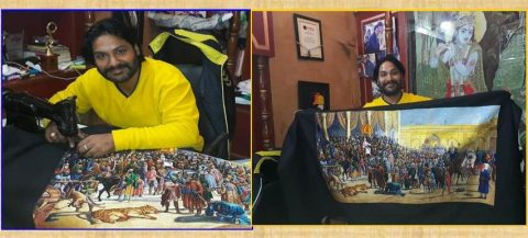 Mananahi sa India na may kakaibang galing sa pagpipinta gamit ang kaniyang sewing machine