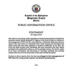 Korte Suprema ibinasura ang mosyon ni Justice Alfredo Benjamin Caguioa na muling mai-raffle ang electoral protest case ni dating Senador Bongbong Marcos