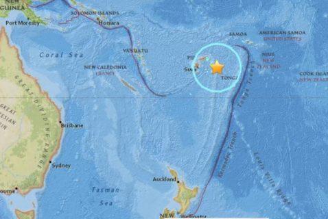 Magitude. 8.2 na lindol, tumama sa Pacific malapit sa Fiji at Tonga