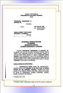 Dating Senador Bongbong Marcos, pinag-iinhibit si Justice Benjamin Caguioa sa Election protest niya laban kay VP Robredo