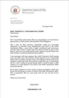 Chief Justice De Castro, nanawagan sa ibang sangay ng gobyerno na igalang ang mga desisyon ng Supreme Court
