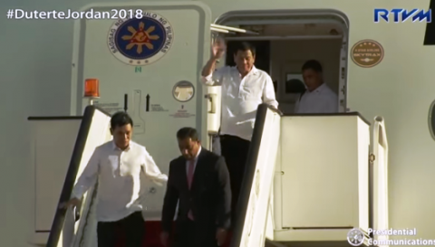 Pangulong Duterte dumating na sa Jordan para sa 3-day official visit