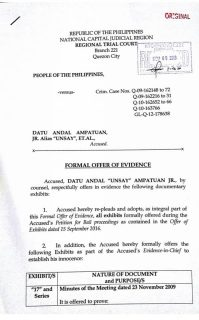 Kampo ni dating Datu Unsay Mayor Andal Ampatuan Jr., nagsumite na sa Korte ng Formal offer of Evidence sa Maguindanao massacre case
