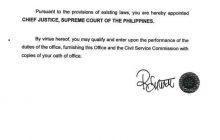 Appointment papers ni bagong Chief Justice Lucas Bersamin, inilabas na ng Malacañang - Justice Secretary Guevarra