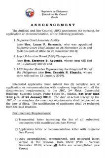 Judicial and Bar Council binuksan na ang aplikasyon para sa binakanteng Associate Justice post ni bagong Chief Justice Lucas Bersamin
