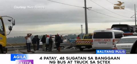 4 patay, 48 sugatan sa banggaan ng Bus at Truck sa SCTEX