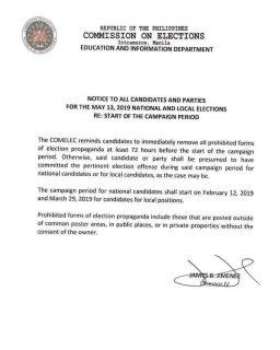 Mga kandidato muling pinaalalahanan ng Comelec na baklasin na ang mga campaign materials na hindi nakasunod sa mga panuntunan ng poll body