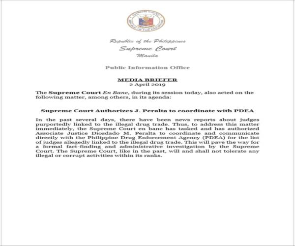 Korte Suprema makikipag-ugnayan sa PDEA kaugnay sa mga hukom na dawit sa iligal na droga