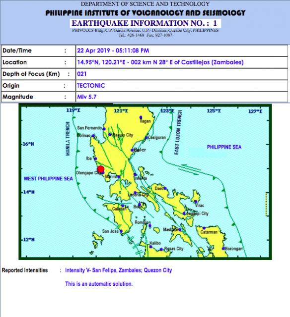 Bahagi ng luzon, niyanig ng magnitude 5.7 na lindol