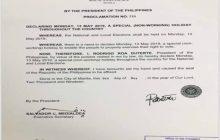 May 13, 2019, Election day, idineklarang Special non-working holiday
