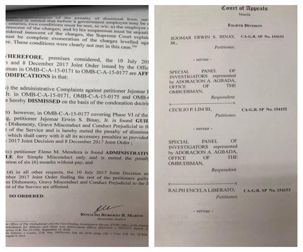 Court of Appeals pinagtibay ang desisyon ng Ombudsman na sibakin sa pwesto at idiskwalipika sa paghawak ng anumang posisyon sa gobyerno si dating Makati City Mayor Junjun Binay.