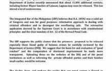 IBP, hinimok ang DOJ na gawing transparent ang ebalwasyon at kompyutasyon ng Good Conduct Time Allowance